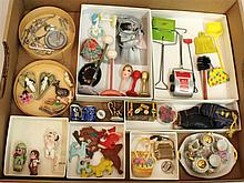LOT OF VINTAGE/CONTEMPORARY MINIS: TIN TOYS,  PURSES, CHINA, METAL, HATS/STANDS, MAREE MASSEY FIGURES, PLASTIC PINS, ETC. Tin toys -...