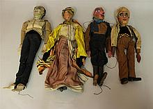 LOT OF (4) ANTIQUE HANDMADE MARIONETTES: (3) PAPIER MACHE HEADS, (1) CARVED WOOD HEAD. All of these marionettes have wooden jointed ...