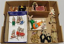 LOT OF MINI/SMALL ANIMALS - MICE, BEARS, RABBITS, CAT, HEDGEHOG, DOG, HORSE.  (6) Mice - Handwork, all dressed. (4) Bears - (2) moha...