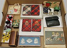 LOT OF MISC. VINTAGE  SMALL ITEMS: THISTLE LIBRARY BOOKS, YARN DOLLS, LAUNDRY SET, DECORATED GIFT BOX, ETC. (5) Thistle Library Book...