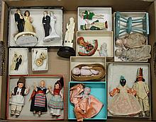 LOT OF 1920's-40's MINI DOLLS, CAKE TOPPERS, ETC. (4) German painted bisque dolls from various countries. 3