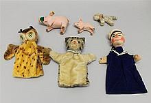 LOT: (2) STEIFF MOHAIR PUPPETS, KERSA PUPPET, MOHAIR STEIFF CAT, (2) VELOUR STEIFF PIGS. Unmarked mohair puppets - striped