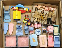 LOT OF 1950's PLASTIC RENWAL/ACME /IDEAL DOLLHOUSE FURNITURE FOR NURSERY/BACK YARD; RENWAL AND FLAGG DOLL HOUSE DOLLS