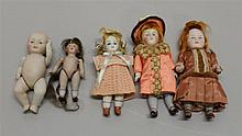 LOT OF (5) ANTIQUE ALL BISQUE DOLLS: 3 3/4