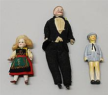 LOT OF (3) ANTIQUE BISQUE DOLLS: 3  1/2
