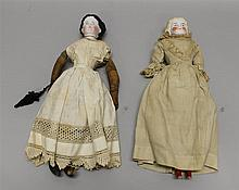 PAIR OF  CHINA SHOULDER HEAD DOLLS: 1870's - 1880's 16