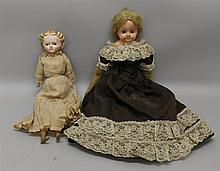 PAIR OF PAPIER MACHE SHOULDER HEAD DOLLS: 19