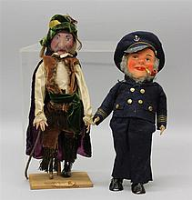 PAIR OF VINTAGE UNMARKED PAPIER MACHE MALE CHARACTER DOLLS - 13