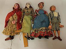 LOT OF (4) ANTIQUE FEMALE HANDMADE MARIONETTES:  (3) PAPIER MACHE HEADS, (1) CARVED WOOD HEAD. Papier mache - 20