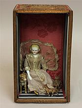 LOT - SHADOW BOX WITH SITTING BLONDE PARIAN DOLL SURROUNDED BY (2) METAL DOGS AND  A BEAR. Doll - appears to be 9