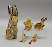 LOT OF (5) STEIFF ITEMS: MOHAIR/WOOL POM - (2) RABBITS, BEAR, BABY CHICK, SQUIRREL. Both mohair