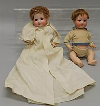 PAIR OF ANTIQUE BISQUE HEAD CHARACTER BABY DOLLS: 12