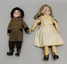 PAIR OF ANTIQUE BISQUE HEAD DOLLS: 14
