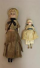 PAIR OF UNMARKED  WAX OVER PAPIER MACHE MOLDED HAIR DOLLS WITH STATIONARY BLACK GLASS EYES, 9