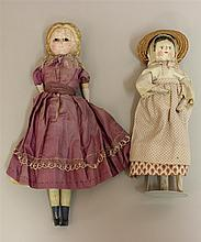 PAIR OF UNMARKED ANTIQUE DOLLS - 12