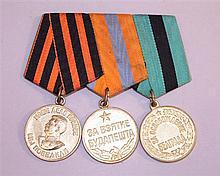Soviet 3 Medal Bar