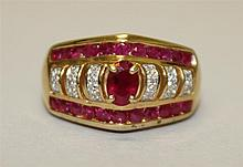 10K Yellow Gold, Ruby and Diamond Ring