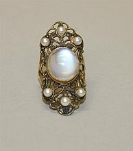 14K Yellow Gold, Moonstone and Pearl Ring