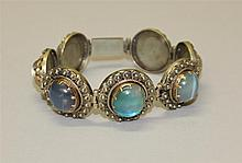 14K Yellow Gold and Silver, Moonstone Bracelet