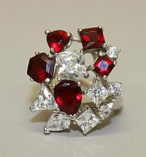 Sterling Silver Garnet Red and CZ Ring