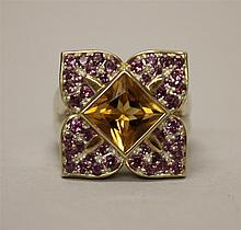 Sterling Silver, Citrine and Amethyst Leaf Design Ring