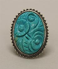 Sterling Silver, Carved Turquoise Ring