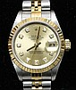 Ladies' Rolex 18K Yellow Gold and Stainless Steel Diamond Wrist Watch