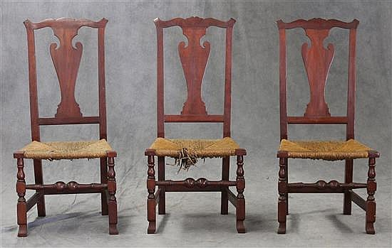 3 Queen Anne Rush Seat Chairs