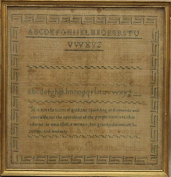 Sampler by Eliza A. Jenny, Boston, MA April 11th, 1828