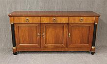 Baker, French Empire Style Sideboard with Ebonized Columns and Ormolu Mounts, Cherry, Good Condition, 32