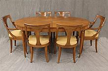 Kindel 7 Piece Dining Room Suite, Cherry, Good Condition (1) Table with Marquetry Veneer Top 29
