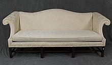 Chippendale Style Sofa by Drexel Traditional Classics with Floral Design, Cream, and Thane Foam Padded Upholstery, Stretcher Base, 3...
