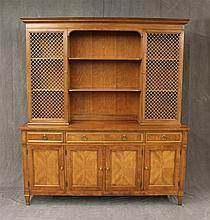 Kindel Breakfront / Sideboard, Cherry with Marquetry Veneer Top, Brass Grilled Doors and Ormolu Mounts, Very Good Condition, 75