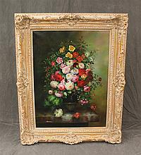 Oil on Canvass Floral Design Painting by Sherman, Signed Lower Left Corner, 62 1/2