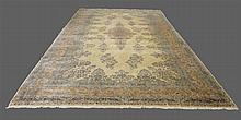 Kerman, Persian Rug, Floral Medallion with Floral and Beige Field, 25'L x 13' 3