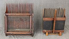 Pair of Wooden Cranberry Combs on Stands, (1) 21