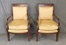 Pair of Federal Style Arm Chairs, Mahogany, Dolphin Carved Arms, Bowed Seatrail on Saber Legs, 37 1/2