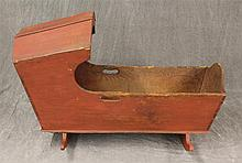 Cradle, Pine, Painted Red with Canopy and Cheese Cutter Rockers, 25