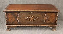 Blanket Chest, Mahogany, Veneered and Carved Front, Spiral Columns on Round Feet, 22
