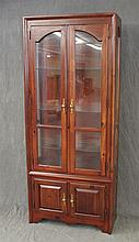 Curio Cabinet, Pine, Two Glazed Doors over Two Doors with Glass Shelving, 80