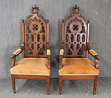 Pair of Gothic Revival Arm Chairs, Walnut, Carved Back, Velvet Seat and Arms, Scrolled Seatrail on Turned Legs, 61 1/2