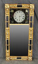 Wall Clock, Giltwood and Ebonized, Mirrored, 30 Hour Works, 38