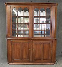 Wall Cupboard, Walnut, Molded Cornice, Two Arched Glazed Doors over Two Doors, Mirrored, Glass and Lighted Shelving, 82