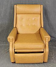 Contemporary Light Tan Leather Recliner, 40