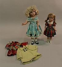 PAIR OF 1950's HP ARRANBEE NANCY LEE/NANETTE STYLE DOLLS,  14
