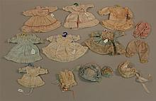LOT OF GERMAN REPRODUCTION DOLL DRESSES, PANTALOONS AND HATS FOR SMALL ANTIQUE BISQUE DOLLS. (6) Silk dresses - 4