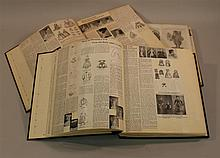 LOT OF (3) LARGE SCRAPBOOK ALBUMS CONTAINING A COLLECTION OF DOLL ARTICLES AND INFORMATION -  EARLY 1800's TO 1960's . Articles appe.