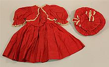 TWO PIECE RED COTTON DRESS AND HAT FOR 27