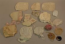 LOT OF ANTIQUE/VINTAGE BABY BONNETS AND DOLL HATS. Baby bonnets - (3) crocheted,  (1) silk faille, (1) cloth, (1) embroidered wool, ...