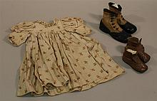 LOT OF ANTIQUE CHILD'S DRESS AND (2) PRS. OF LEATHER BOOTS. Dress - wonderful 16